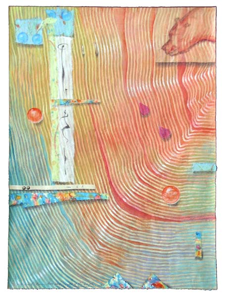 """Kathleen O'Brien, """"Light of the Earth 2"""", collaged drawing on paste paper"""
