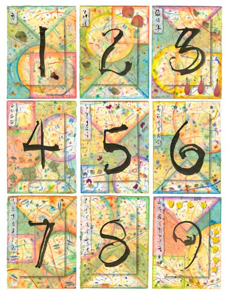 """Kathleen O'Brien, """"Numbers 1-9, multiple of Mixed Media Collages"""