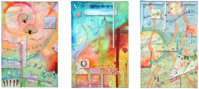 "Kathleen O'Brien, ""Inner World, Outer World, 3 Worlds"", triptych"