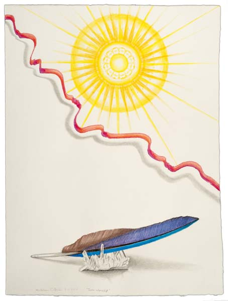 "Kathleen O'Brien, ""Sun Worship"", drawing on Twinrocker paper, framed"