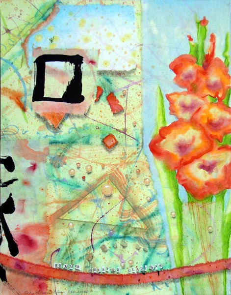 "Kathleen O'Brien, ""Summer Solstice Gladiolas"", collage on panel"