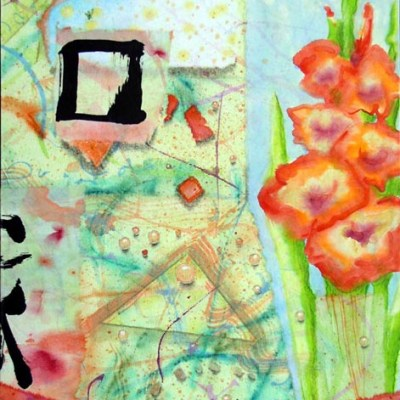 "Kathleen O'Brien, ""Summer Solstice Gladiolas"", collage on panel"