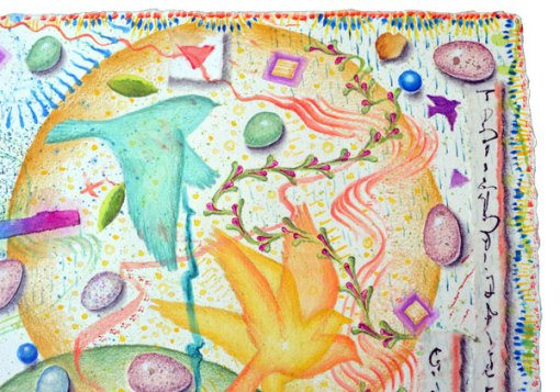 """""""Egg Hunt, Ostara"""", detail 2, watercolor, drawing, collage by Kathleen O'Brien"""