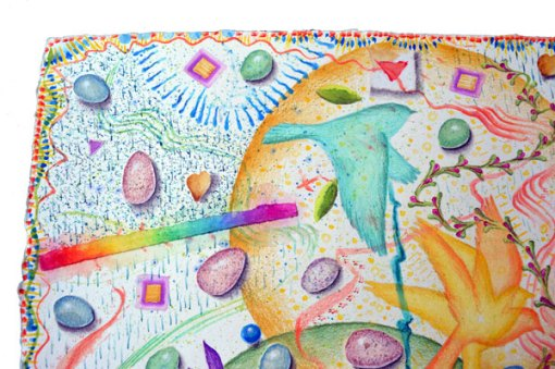 """Egg Hunt, Ostara"", detail 1, watercolor, drawing, collage by Kathleen O'Brien"