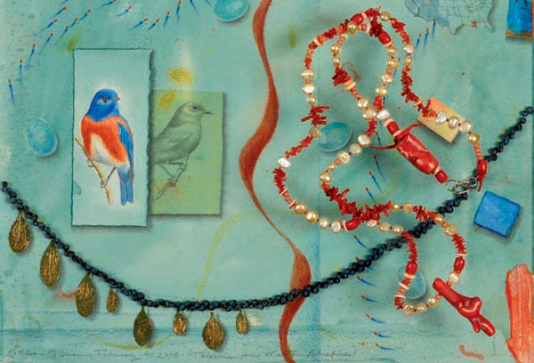 Talisman for Western Bluebird, collage detail & Talisman for Oceans, necklace for Postcard