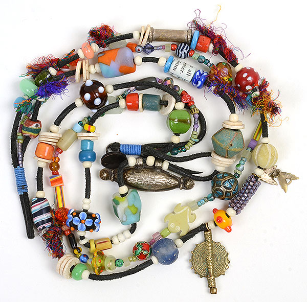 "Kathleen O'Brien, ""Talisman for the Heart"", necklace with many antique, vintage & handmade beads"