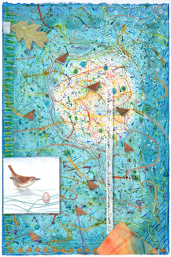 """Little Big Wren"", mixed media collage by Kathleen O'Brien"