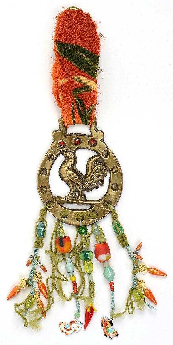 """Talisman for Farmers"",  beaded wall hanging by Kathleen O'Brien"