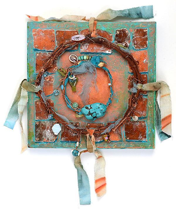 """Talisman for Tibet"", MM panel, by Kathleen O'Brien, 12 x 11 x 1"""