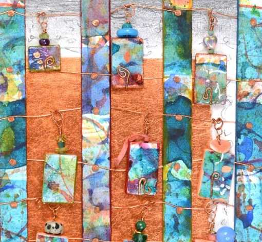 """""""Talisman for Artists"""" beaded 3-D collage detail Kathleen O'Brien"""