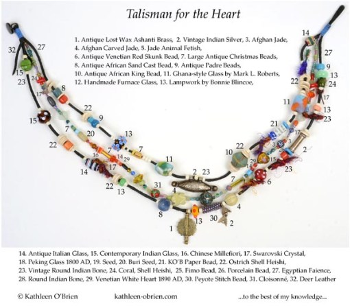 """Talisman for the Heart"" necklace bead ID Kathleen O'Brien"