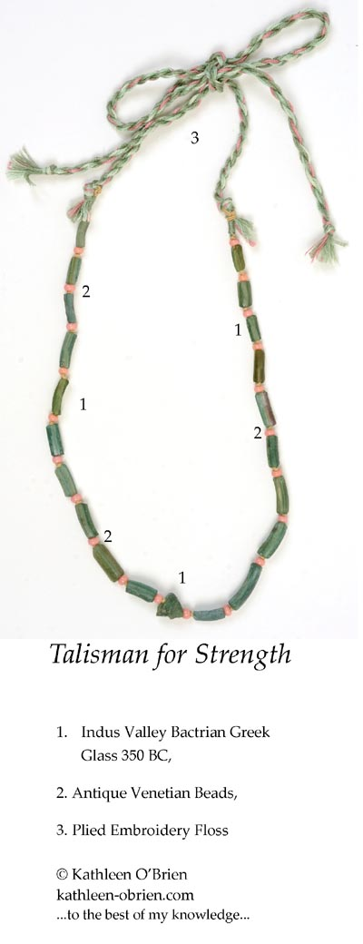 """Talisman for Strength"" necklace bead ID by Kathleen O'Brien"
