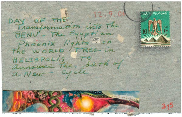 """""""December 9, Each Year in the Year of the Fire Dog, # 315"""", postcard by Kathleen O'Brien, front"""
