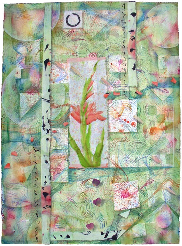 """Gladiola garden"", Mixed Media collage with watercolor & drawing, by Kathleen O'Brien, 36 x 28"""