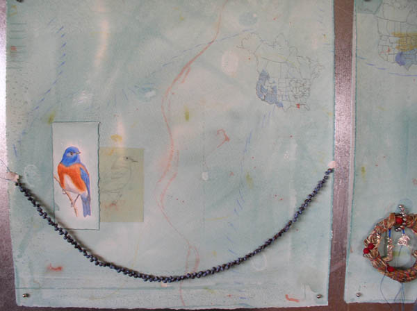 "Kathleen O'Brien, ""Talisman for Western Bluebirds"", process, background watercolor, drawings of Bluebirds & map are glued on, talisman is in position"