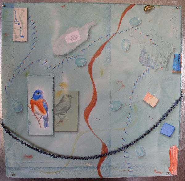 "Kathleen O'Brien, ""Talisman for Western Bluebirds"", process, showing other collage pieces glued with shadows drawn, & further background drawing"