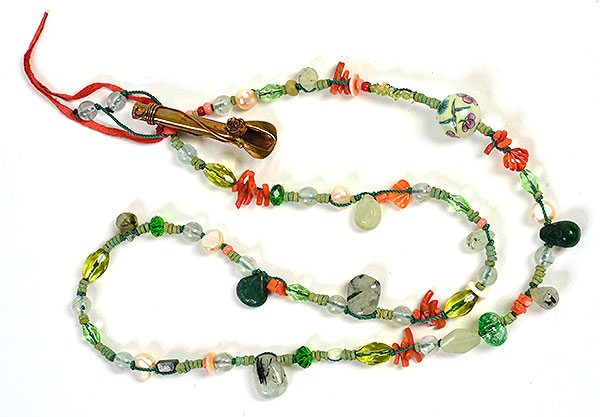 """Talisman for Flower Gardeners"", bead necklace  by Kathleen O'Brien"