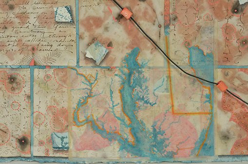 """""""Talisman for going On"""", detail of map, watercolor, drawing, collage, objects by Kathleen O'Brien, 28 x 36"""""""