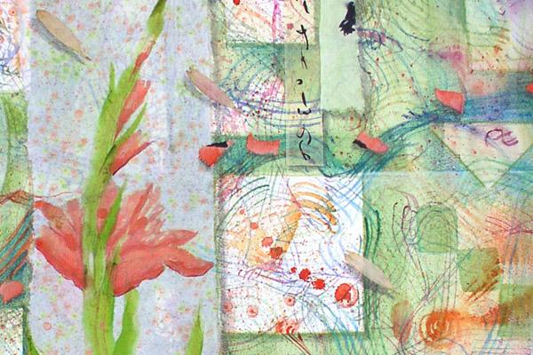 "Gladiola Flower Essence drawing, detail from ""Gladiola Garden"" by Kathleen O'Brien"