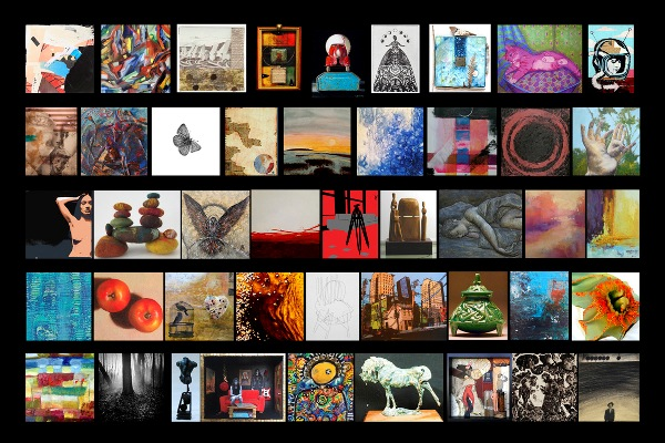 """notBIG(3)"" postcard showing 45 artworks, by Mary Rezny"
