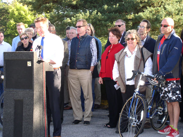 Mayor Jim Gray at the Press conference for Blazes of the Legacy Trail, Lexington, KY