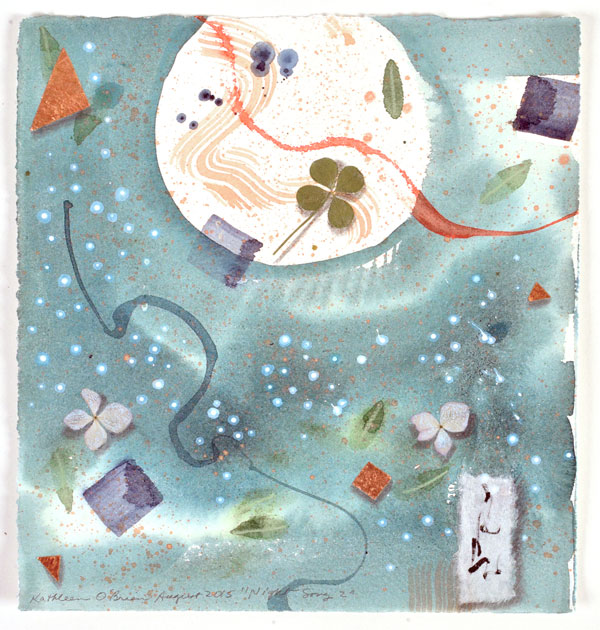 """""""Night Song 2"""", watercolor, drawing, botanicals, collage by Kathleen O'Brien"""