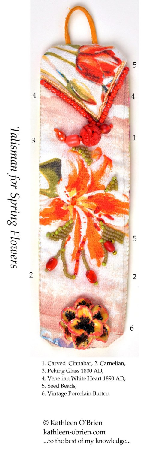 Talisman for Spring Flowers, cuff bead ID by Kathleen O'Brien