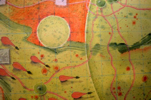 """At First I Thought It Was the Earth, But Now I Know It Is the Universe"", detail of collage by Kathleen O'Brien, 22x30"""
