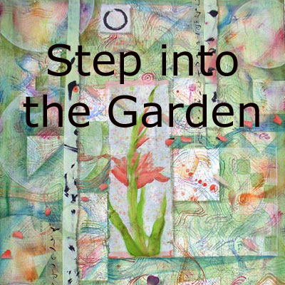 Step into the Garden, mixed media collages by Kathleen O'Brien