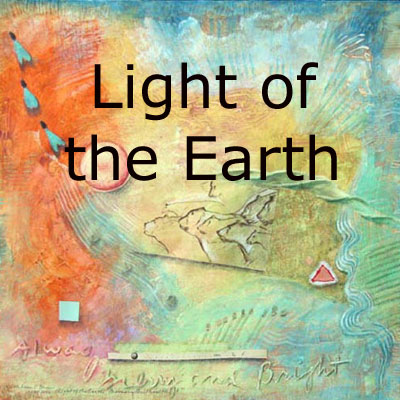 Light of the Earth, mixed media collages featuring petroglyphs by Kathleen O'Brien