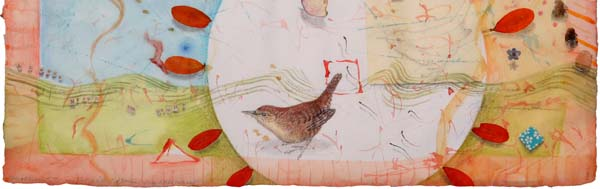 "A small detail from ""Ill Miss You, Little Wren"", watercolor, drawing, collage by Kathleen O'Brien"