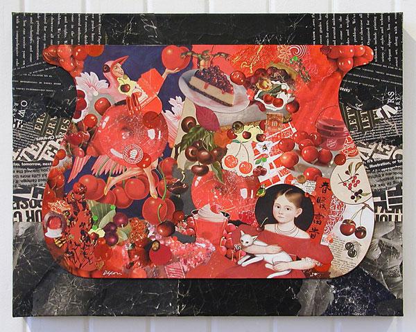 John Andrew Dixon ~ Cherry Balm ~ collage on canvas