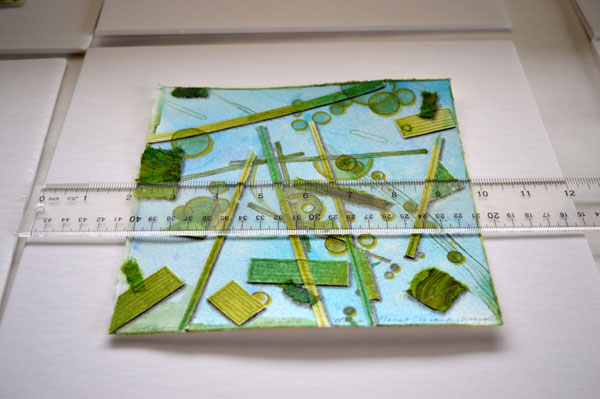 """Frame Process, mounting Blue """"Planet Closeup, Diatoms"""" on back board by Kathleen O'Brien"""