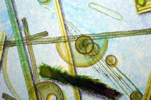 Blue Planet Closeup, Diatoms, detail, collage by Kathleen O'Brien, 7.5x7.5""