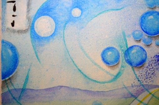 "Blue Planet Closeup, Long Path, detail 2, collage by Kathleen O'Brien, 7.5x7.5"""