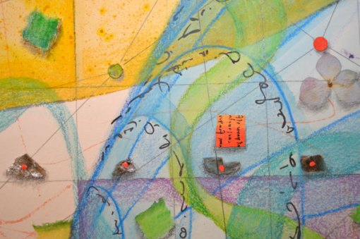 Coming Together, detail 2, collage by Kathleen O'Brien, 22x30