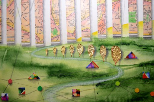 Walls and Gates, Detail 1, collage by Kathleen O'Brien, 14x17""
