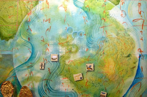 """Worlds of Islands, Detail 2, collage by Kathleen O'Brien, 14x17"""""""