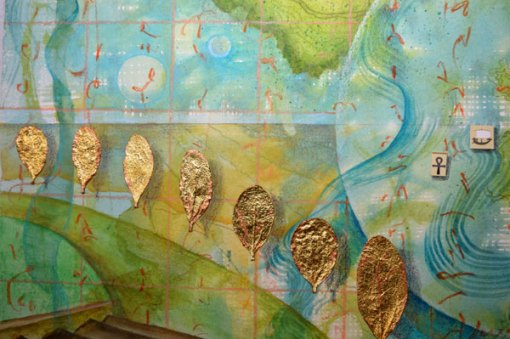 """Worlds of Islands, Detail 4, collage by Kathleen O'Brien, 14x17"""""""