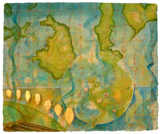 """Worlds of Islands, collage by Kathleen O'Brien, 14x17"""""""