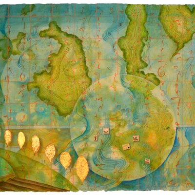 Worlds of Islands, collage by Kathleen O'Brien, 14x17""