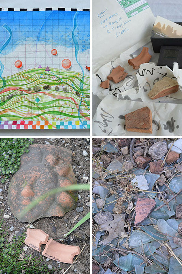 """Mound Map"" by Kathleen O'Brien and ostracons from Nona Orbach"