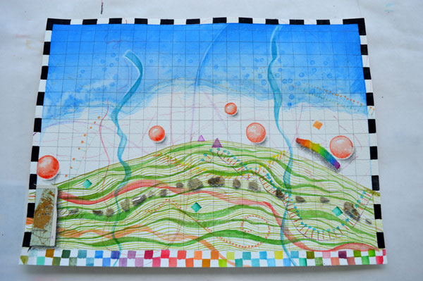 """""""Mound Map"""" watercolor, drawing, collage by Kathleen O'Brien"""