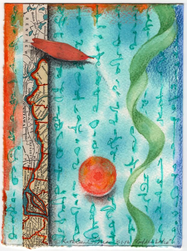 """""""Golden Lake"""", 6x4.5"""", watercolor, drawing, collage by Kathleen O'Brien"""