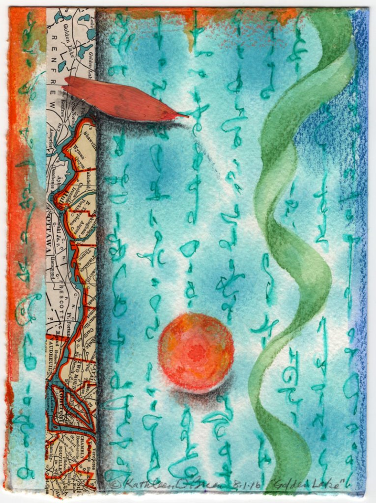 Golden Lake watercolor, drawing, collage by Kathleen O'Brien
