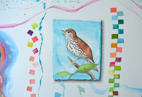 """New Brush Wood Thrush"", 22x30"", detail, watercolor, drawing, mica, collage by Kathleen O'Brien"