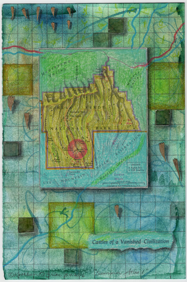 """Summer Atlas 1"", 9x6"", watercolor, drawing, mica, map, collage by Kathleen O'Brien"