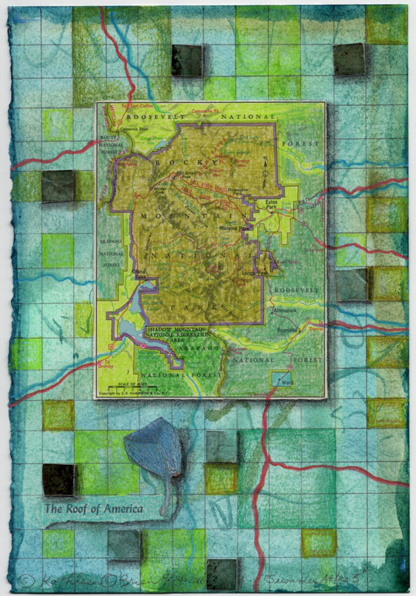 """""""Summer Atlas 3"""", 9x6"""", watercolor, drawing, mica, map, collage by Kathleen O'Brien"""