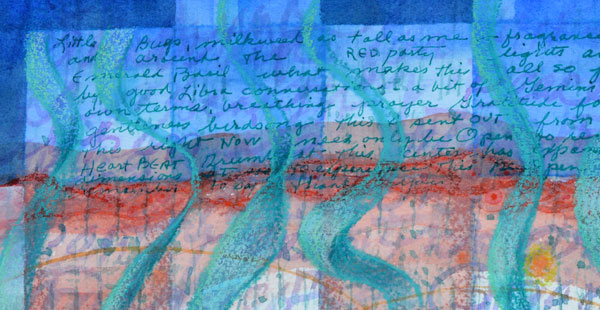 """Summer Journey"", 9x12"", detail, watercolor, drawing, collage by Kathleen O'Brien"