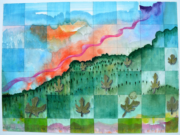 """""""Trip to Fig Orchard"""", 9x12"""", watercolor, drawing, leaves, collage by Kathleen O'Brien"""